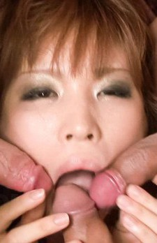 Ai Sakura Asian gets vibrator on cunt and three cocks in mouth