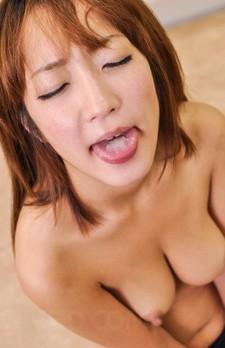 Sana Anju Asian rubs dick between big tits and licks it so well