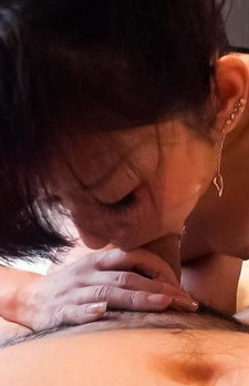 Kikue Asian sucks crown jewels and cock before riding it big time
