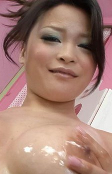 Yuu Haruka Asian sucks dick and has juicy tits caressed with oil