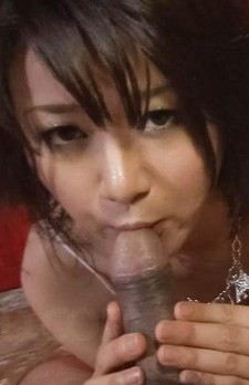 Haruka Uchiyama Asian touches cock with her jugs and licks it