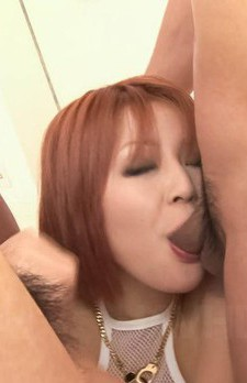 SARA Asian gets three tools in mouth to lick and suck at once