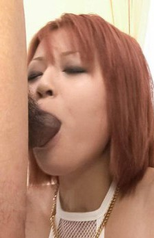 SARA Asian with big jugs in fishnets sucks and licks shlongs