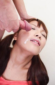 Suzu Minamoto Asian gets cum on face from dicks she sucks well