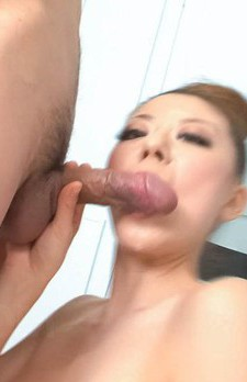 Ryuu Narushima Asian with big bazoom bas sucks phallus so well