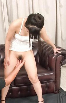 Koyuki Ono Asian gets vibrators in and on labia and licks penis