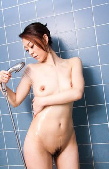 Ruri Hayami Asian sucks vibrator and boner at shower and gets cum