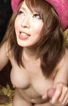 Sayaka Tsuzi Asian gets cum on big boobs from stroking boners