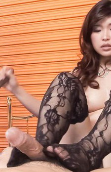 Ai Okada Asian in kinky lingerie sucks cocks she stroked before