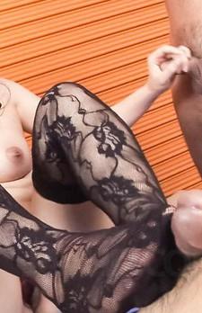 Ai Okada Asian in kinky lingerie sucks cocks she stroked before
