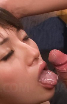 Azusa Nagasawa Asian with generous chest takes penis in mouth
