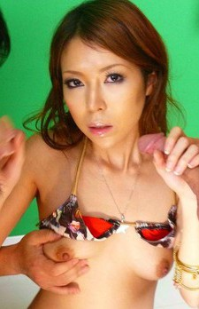 Rino Asuka Asian gets lot of sperm on mouth after sucking penis