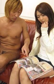 Satomi Kirihara licks balls and sucks boner like in magazine