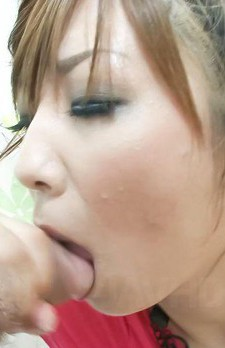 Hinano Asian has pretty face covered in cum after sucking dicks