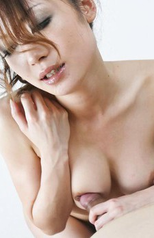 Sara Seori Asian gives blowjob to dick she rubs between titties