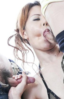 Moe Aizawa Asian sucks two dicks and rubs cunt over fishnet thong