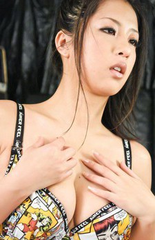 Satomi Suzuki Asian busty full of cum after blowjob rubs her clit