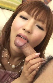 Rika Sakurai Asian licks cock head til has cum splashed on face
