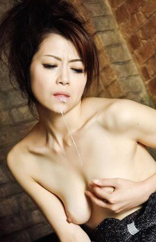 Maki Hojo Asian sucks penis and gets it cum in mouth and on tits