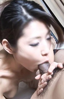 Mizuki Ogawa Asian with string in ass swallows boner in mouth