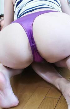 Arisa Aoyama Asian in mauve thong licks dick head and swallows it
