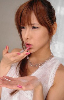 Serina Hayakawa Asian in white dress gets cum from two shlongs