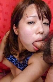 Miyu Kaburagi with big nude tits has mouth full of cum from dicks