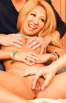 Karin with blonde hair has shaved crack fingered and screwed