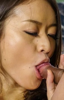 Kaede Niiyama with huge nude knockers sucks two dongs on balcony