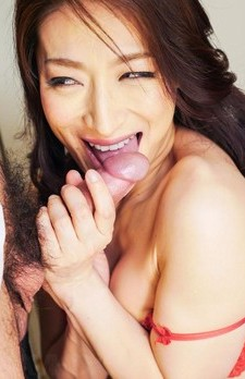 Marina Matsumoto in red lingerie sucks crown jewels and shlong
