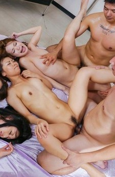 Aoi Miyama and gal with round tits lick dongs and are screwed