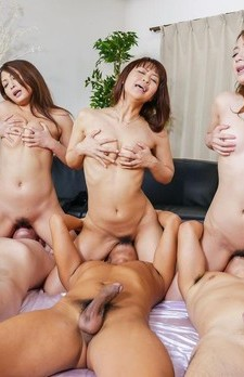 Aoi Miyama and gals suck boners and have cunts filled with sperm