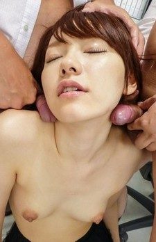 Yui Uehara in lace skirt sucks two dicks and gets cum on titties