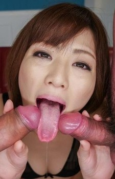 Tomoka Sakurai squirts when cums and gets cum in mouth from dicks