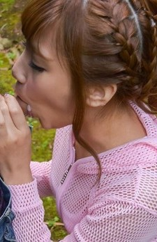 Anna Anjo Asian in blouse sucks dick and gets cum from it outdoor