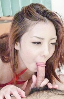 Maki Mizusawa in strings sucks dick for cum and rips stockings