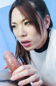 Emi Sasaki Asian rubs boner of her boobs, sucks and strokes it