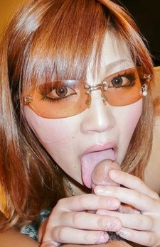 Mariko with sun glasses is hungry so lick balls and to ride tool