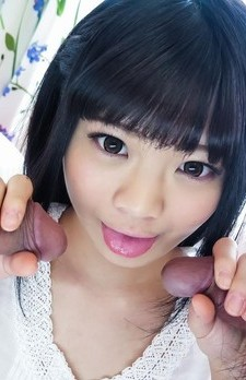 Moka Minaduki Asian gets cum on mouth from two sucked woodies