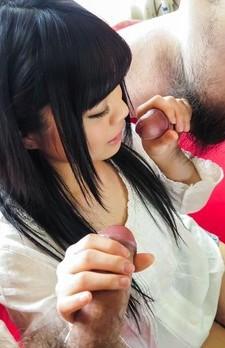 Moka Minaduki Asian with doll face strokes and licks two penises