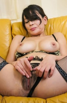 Rei Kitajima in fishnets has dark pussy licked and gets cumshot