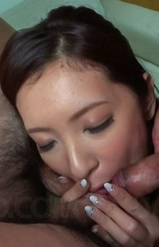 Yui Kasuga Asian topless in fishnets strokes and sucks penises