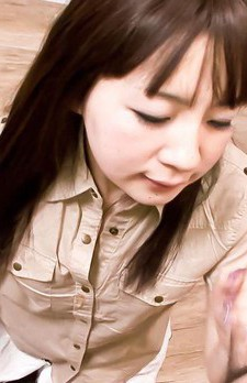 Hitomi Fujihara Asian with mauve nails swallows dick in mouth