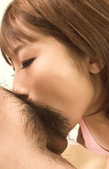 Yui Misaki Asian has slit licked while sucks and strokes cocks