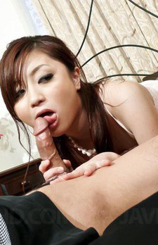 Rui Yazawa Asian sucks hard phallus and licks its head so well
