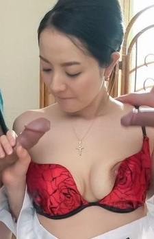 Anna Mihashi Asian strokes two shlongs and kisses the balls
