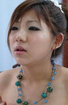 Mahiru Tsubaki Asian in red lingerie and blue beads sucks boner