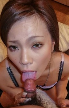 Sakiko Asian with sunglasses has cunt rubbed while licking tool