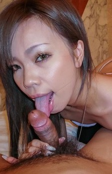 Sakiko Asian doll sucks boner and fucks herself with vibrator