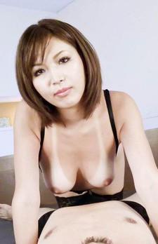 Mai Kuroki Asian with nude hooters licks and sucks hard stiffy
